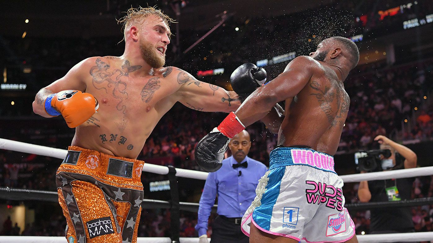Jake Paul fights Tyron Woodley in their cruiserweight bout during a Showtime pay-per-view event at Rocket Morgage Fieldhouse on August 29, 2021 in Cleveland, Ohio. (Photo by Jason Miller/Getty Images)