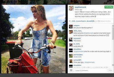 Sophie Monk got lost in Byron... and had a garbage bin selfie fail.
