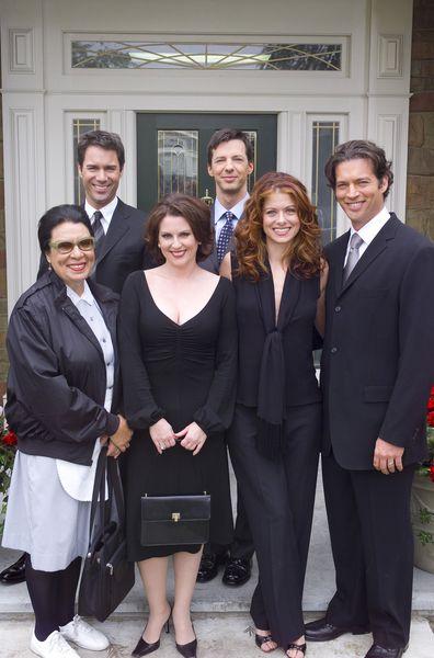 Shelley Morrison as Rosario Salazar, Eric McCormack as Will Truman, Megan Mullally as Karen Walker, Sean Hayes as Jack McFarland, Debra Messing as Grace Adler, Harry Connick Jr. as Leo Markus.