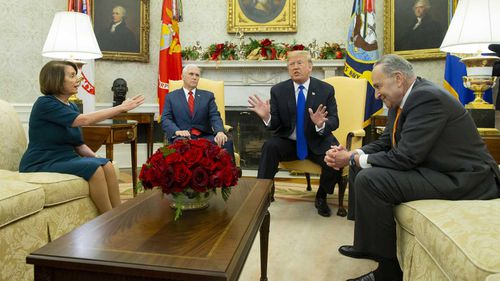 Nancy Pelosi, Mike Pence, Donald Trump and Chuck Schumer had a heated exchange in the White House.