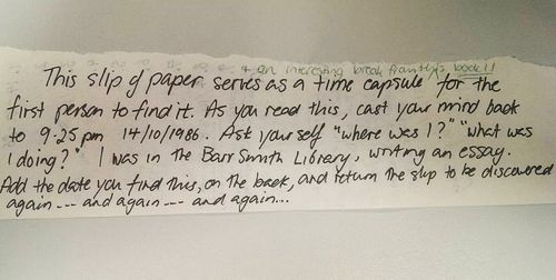 Adelaide student finds 'time capsule' note from the 80s inside university library book