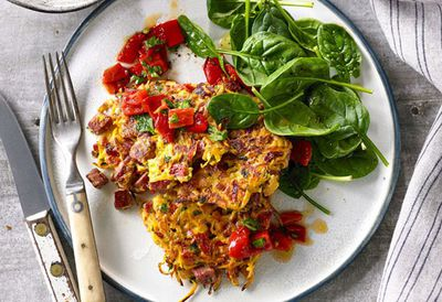 "Recipe:&nbsp;<a href=""http://kitchen.nine.com.au/2016/06/16/11/22/shredded-beef-sweet-potato-and-herb-fritters-with-capsicum-relish"" target=""_top"" draggable=""false"">Shredded beef, sweet potato and herb fritters with capsicum relish</a>"