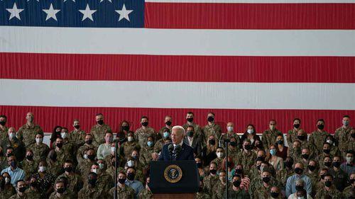 Joe Biden addressing troops at RAF Mildenhall in Suffolk, England.