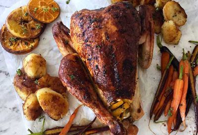 Roast turkey with duck fat potatoes and honeyed carrots