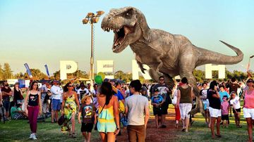 An artist's impression of Perth residents totally unfazed by the presence of a Tyrannosaurus Rex.