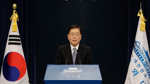 South Korean delegation head, National Security Director Chung Eui-yong speaks to the media at the presidential Blue House in Seoul, South Korea. (AAP)