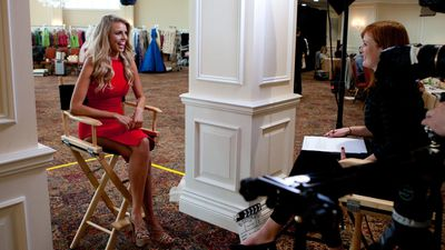 Tegan Martin is interviewed during registration at the Trump National Doral Miami. (AAP)