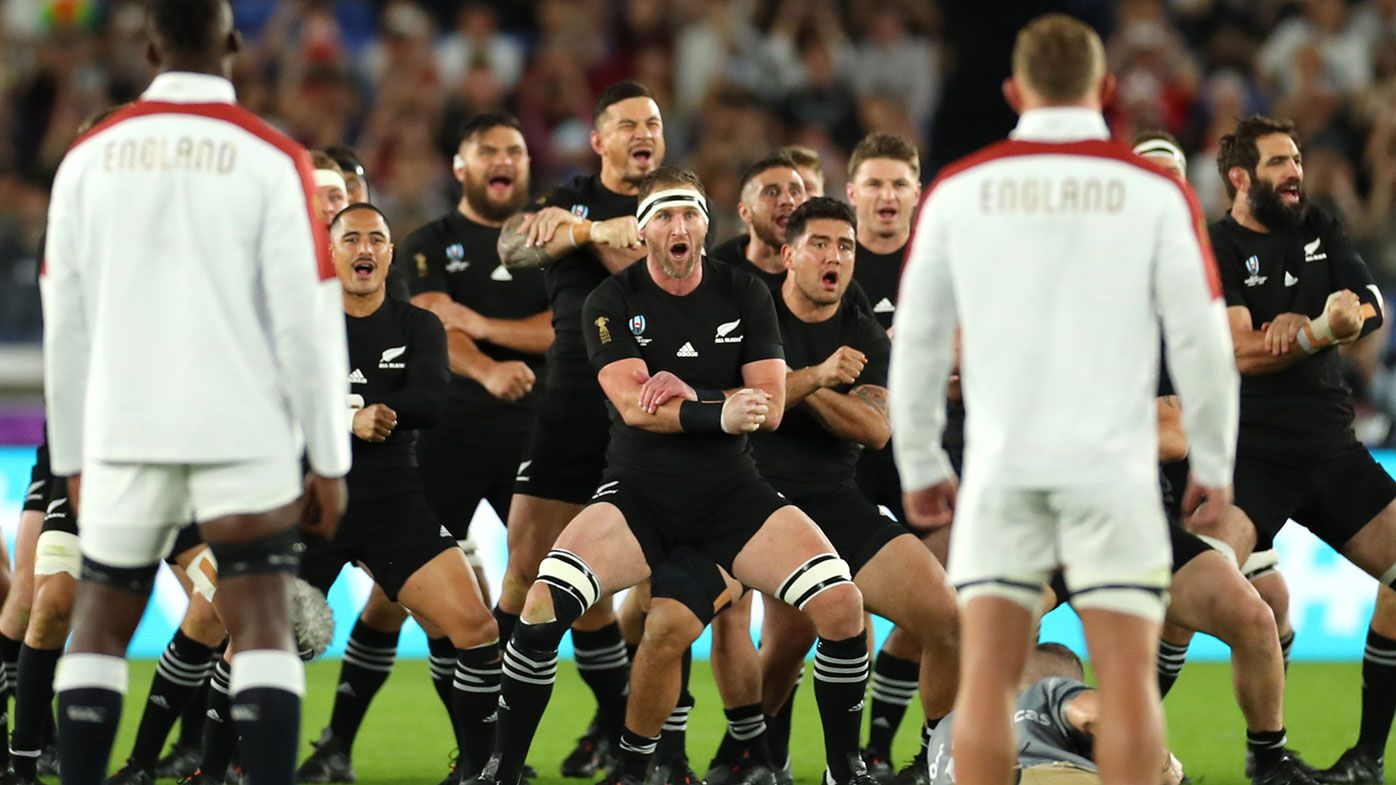 The All Blacks perform the haka ahead of the World Cup semi final against England.