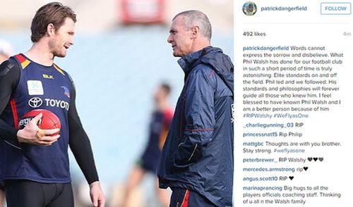 The tribute on player Patrick Dangerfield's page. (Instagram)