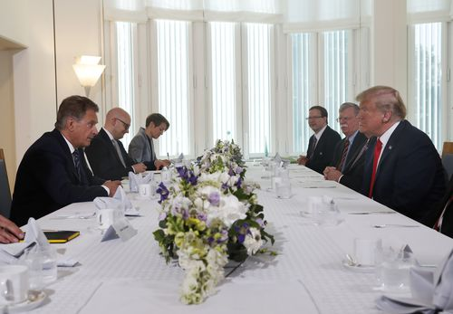 The President with President Niinisto and other Finnish diplomats at the Mantyniemi Residence in Helsinki. Picture: AAP