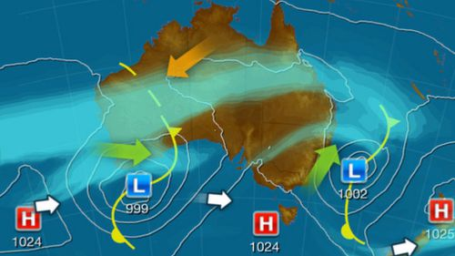 A developing low-pressure system is developing over southern parts of Western Australia. (Weatherzone)