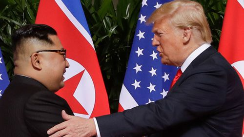 North Korean leader Kim Jong-un and US President Donald Trump at their Singapore summit in June.