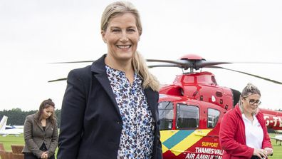 Sophie, Countess of Wessex visits Thames Valley Air Ambulance at White Waltham Airfield on September 3, 2020.