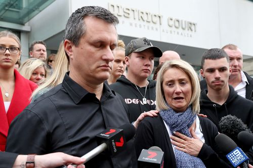 """""""We want to remember Mitch and draw from his strength, our love of him,"""" dad Mitch Chase said outside court today. Picture: AAP"""