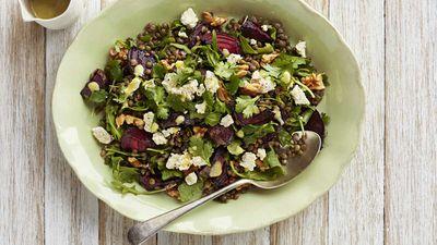 "Recipe: <a href=""https://kitchen.nine.com.au/2018/01/22/11/50/lentil-beetroot-and-feta-salad"" target=""_top"" draggable=""false"">Lentil, beetroot and feta salad</a>"