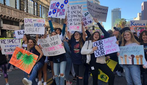 Young women and children also got involved in the LA Women's March.