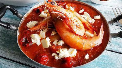 "Recipe:&nbsp;<a href=""http://kitchen.nine.com.au/2016/06/06/12/27/prawn-saganaki"" target=""_top"">Prawn saganaki</a>"
