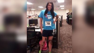 <b>Boston Marathon bombing victims:</b> Last year a photo surfaced on Twitter of a young woman dressed up as a Boston Marathon bombing victim with bloodied knees and running gear. There were also others on Twitter who wanted to dress up as the bombers themselves. Three people were killed and injured more than 250 others in the terrorist attack. (Picture: Twitter)