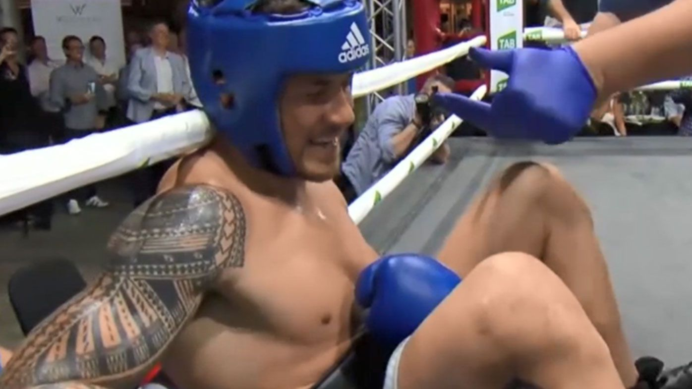 Sonny Bill Williams 'stopped' in charity boxing bout by reality TV star Stu Laundy