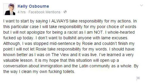 Kelly Osbourne took to her Facebook page to apologise for the mistake.