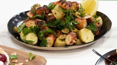 "Recipe: <a href=""https://kitchen.nine.com.au/2017/11/16/14/50/hayden-quinns-family-food-fight-octopus-and-potatoes"" target=""_top"">Hayden Quinn's Family Food Fight octopus and potato salad</a>"