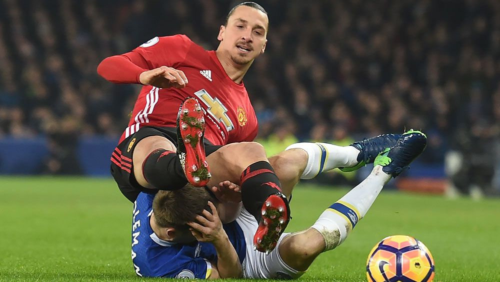 Zlatan Ibrahimovic has denied deliberately kicking Seamus Coleman in the head. (AAP)