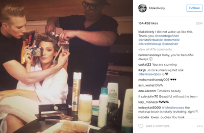 <p>Everyone's favourite blonde goddess, Blake Lively snapped this shot herself. She posted it on her Instagram saying, 'I did not wake up like this' before thanking her beauty team.</p> <p>Image:<em>Instagram</em>/@blakelively</p>