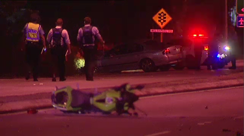 A motorcyclist was killed in a head-on crash during a police pursuit in Perth early this morning.