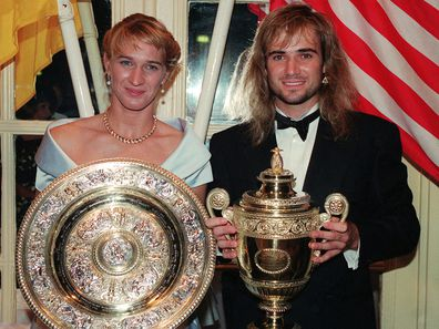 Steffi Graf and Andre Agassi at the 1992 Wimbledon Champion's Ball