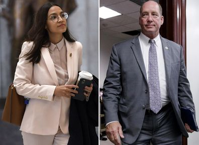 Alexandria Ocasio-Cortez on March 27, 2020 and Ted Yoho at the Capitol in Washington on March 28, 2017.