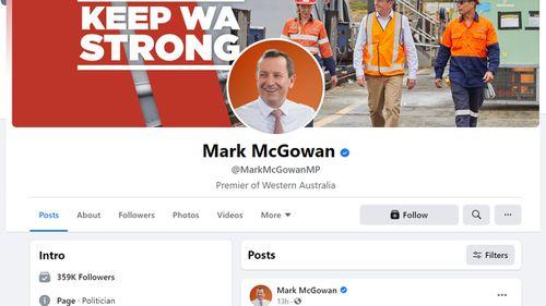 WA Premier Mark McGowan's Facebook page remains active.