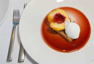 Coconut bread with white peaches, young coconut sorbet and chilled cherry soup