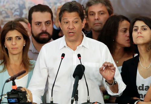 Socialist candidate Fernando Haddad delivers his concession speech.