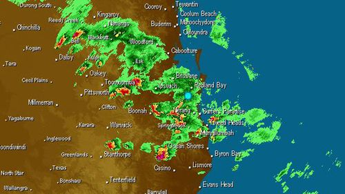 The radar over south-east Queensland at 5.40pm AEST yesterday. (Weatherzone)