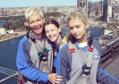 Jessica Rowe with her daughters