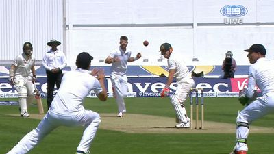 Alastair Cook takes a screamer
