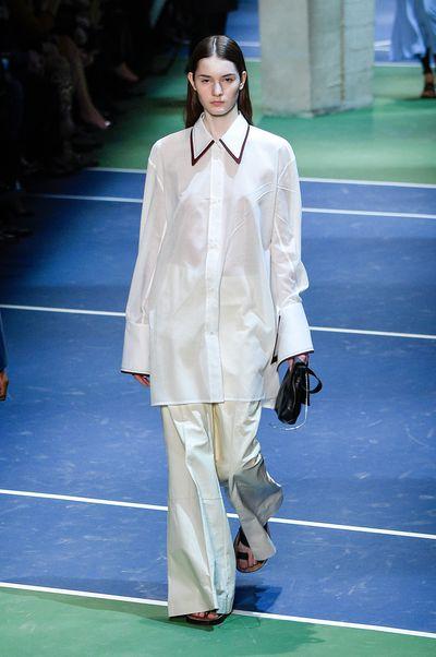 Céline's dress-over-pants proportions