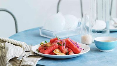 "Recipe: <a href=""http://kitchen.nine.com.au/2016/05/16/18/56/watermelon-haloumi-and-bread-salad"" target=""_top"">Watermelon, haloumi and bread salad</a>"