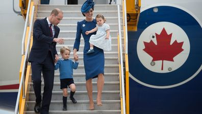 Prince William and his wife Kate, the Duke and Duchess of Cambridge, along with their children Prince George and Princess Charlotte arrive in Victoria, British Columbia, Saturday, Sept. 24, 2016