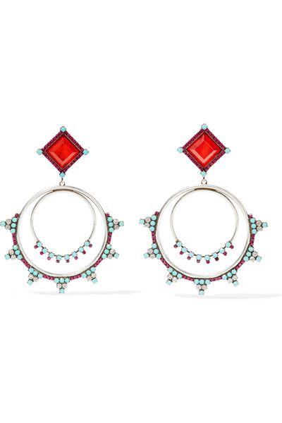 """<a href=""""https://www.net-a-porter.com/au/en/product/675798/DANNIJO/ubaldo-oxidized-silver-plated-swarovski-crystal-and-resin-earrings"""" target=""""_blank"""">Earrings, $334, Dannijo at net-a-porter.com</a>"""
