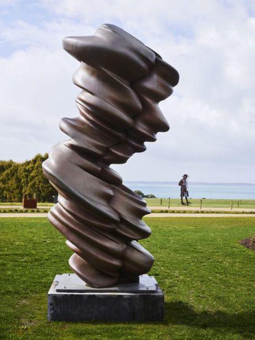 A bronze sculpture by Tony Cragg. (Point Leo Estate)