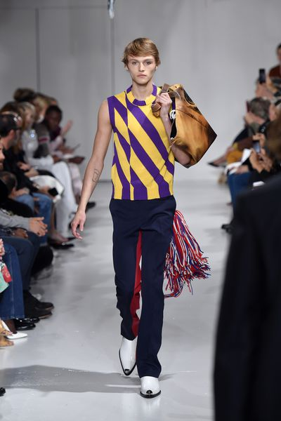 Mingus Reedus, 16, son of supermodel Helena Christensen and <em>Walking Dead</em> actor Norman Reedus on the runway for Calvin Klein, New York Fashion Week.