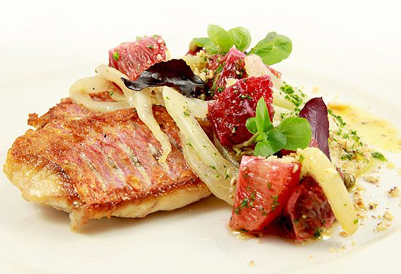 Pan fried red mullet with a fennel, blood orange and caper butter