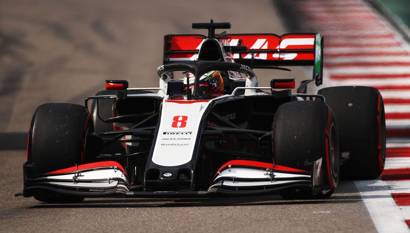 Romain Grosjean driving for Haas.