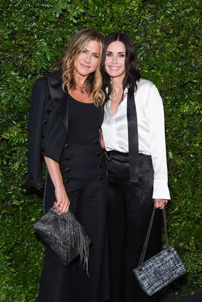 "<p>BFF&rsquo;s <a href=""https://style.nine.com.au/2017/08/11/15/48/style_jennifer-anistons-best-hairstyles"" target=""_blank"">JenniferAniston</a> and Courteney Cox ruled the style set in co-ordinating outfits overnight at a dinner hosted by <a href=""https://style.nine.com.au/2018/05/18/11/07/princess-diana-chanel"" target=""_blank"">Chanel</a>.<br /> <br /> The former <em>Friends</em> co-stars lead the sartorial stand-outs in head-to-toe Chanel. </p> <p>Aniston sported a double breasted pantsuit while Cox donned an equally chic outfit made of black wide-leg silk pants and white shirt, complete with a black tie draped around her collar.<br /> <br /> The actresses were there to celebrate the Majestic Oceans&nbsp;dinner&nbsp;hosted by fashion house Chanel, a benefit drawing attention to the plight of the ocean ahead of World Ocean&rsquo;s Day on June 8.</p> <p>The besties were joined by other A-listers including Julia Roberts, Cindy Crawford and Barbara Streisand.</p> <p>Click through to take a look at the stars who brought their fashion A-game.</p>"