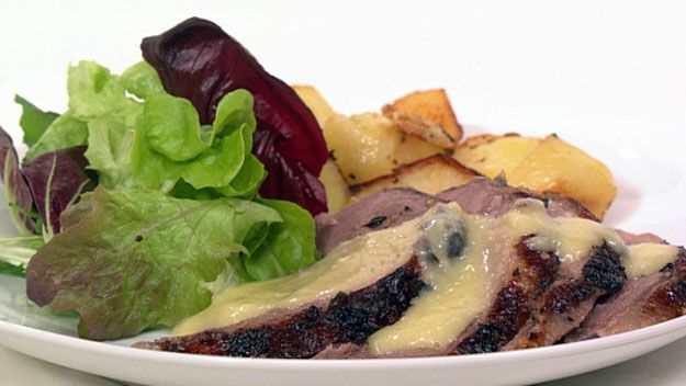 Greek roast lamb with skordalia and lemon-scented potatoes