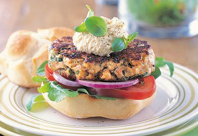 Chicken, rocket and feta burgers