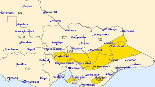 The areas in yellow are currently under a severe weather warning. Picture: BoM