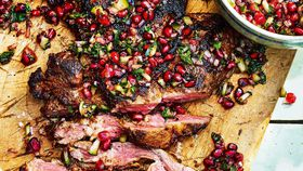 Butterflied leg of lamb with pomegranate salsa