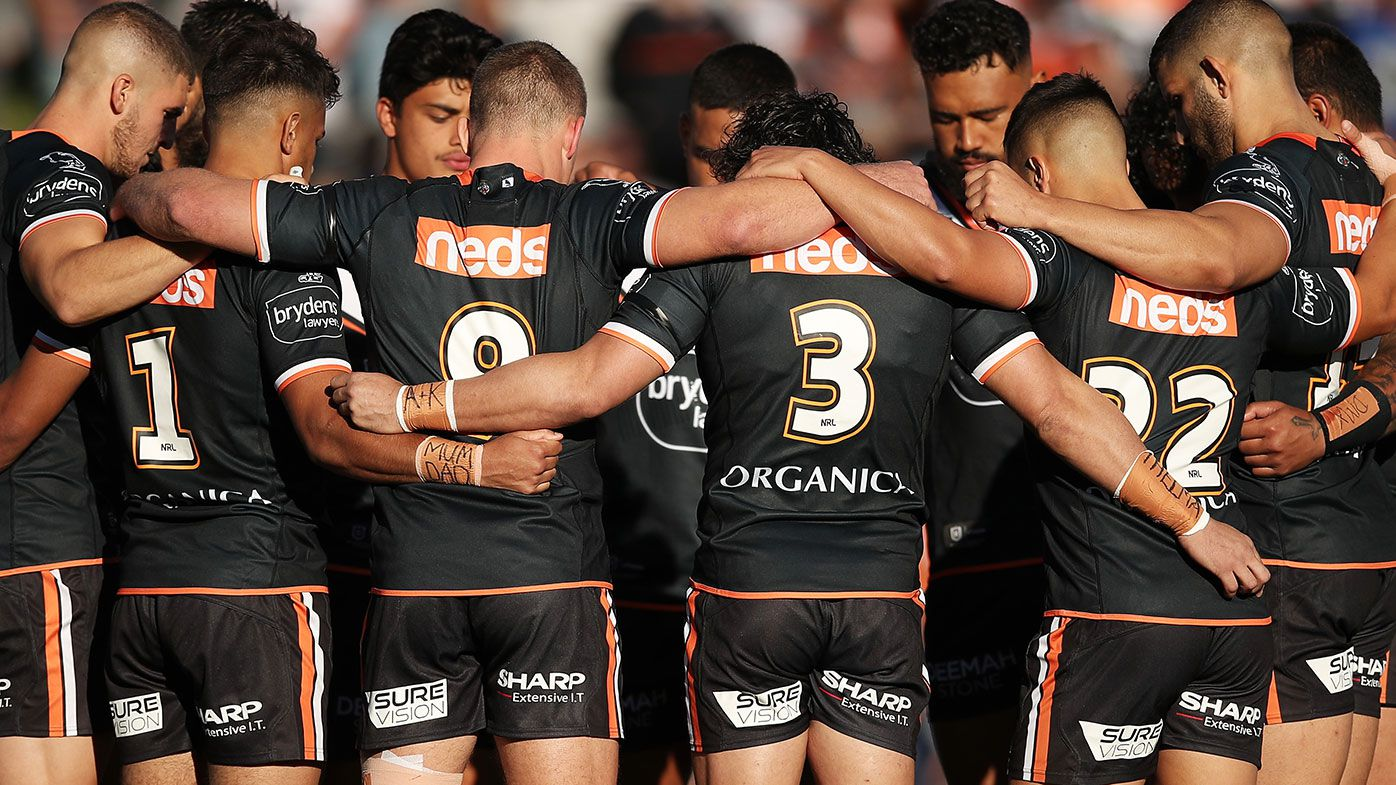Wests Tigers players before their round five match against North Queensland at Leichhardt Oval.